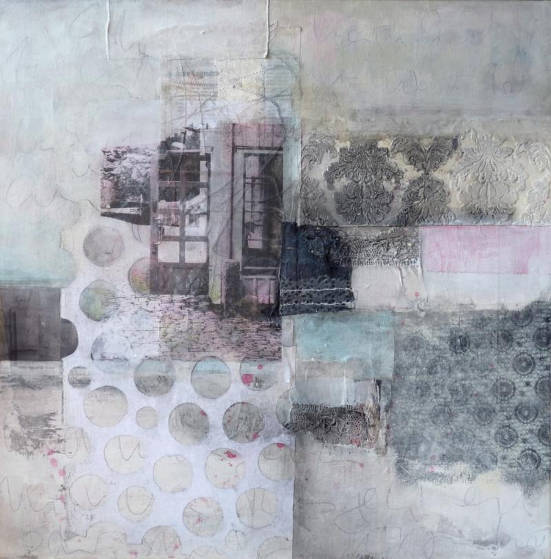 Abstrakte Collagen auf Papier und Leinwand
