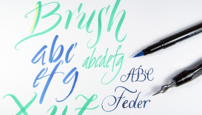 Kalligrafie und Handlettering mit Brushpen und Spitzfeder